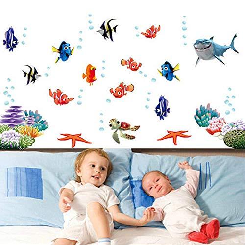 ZKAMANG Finding Shark Fish Under Sea 3D Cartoon Waterproof Wall Decals Stickers