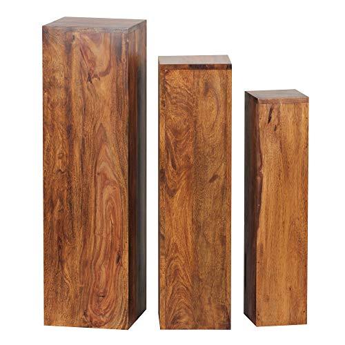 Wohnnling Dekosäulen BZW. Blumenhocker für Blumen und co. aus Massivholz Sheesham, Dreier Tischset - Handarbeit