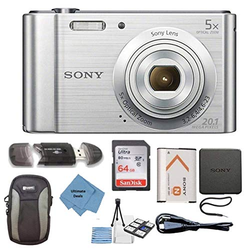 Sony W800/S DSC-W800/S DSCW800S 20 MP Digital Camera 5X Optical Zoom (Silver) Bundle with 64GB SDHC Memory Card, Table top Tripod, Deluxe Case, and Ultimate Lens Cleaning Cloth