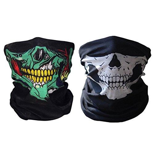 iMixCity 2 Stück Premium Sturmmaske Totenkopf Skull Maske Multifunktionstuch Schlauch Nahtlos Schädel Sturmmaske Ghost für Motorrad Fahrrad Ski Paintball Gamer Karneval Kostüm (B# 2PCS)