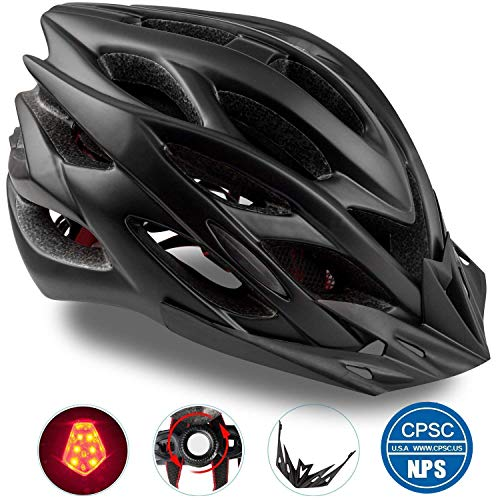 Basecamp Specialized Bike Helmet, Bicycle Helmet CPSC&CE Certified with Helmet Accessories-LED Light&Removable Visor&Portable Bag Cycling Helmet BC-DDTK Adjustable for Men/Women(Black)