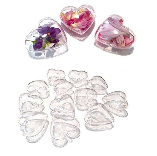 CRYSTAL KING - 10 sfere in acrilico a forma di cuore, 10 cm, trasparenti, divisibili in plastica, a forma di cuore, in acrilico, 100 mm