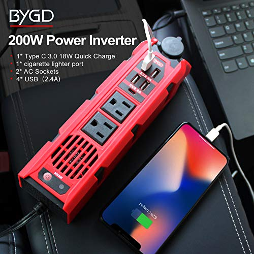 BYGD 200W Car Power Inverter DC 12V to 110V AC Converter with 2 AC Outlets 4 Quick Charger USB Ports 1 Type C Port Car Adapter and 1 DC Cigarette Lighter Socket