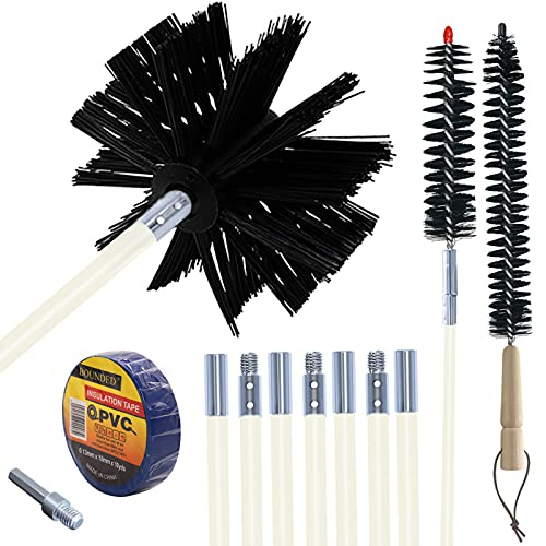 Dryer Vent Cleaner Kit Cleaning Brush Trap Flexible Chimney Sweep Pipe For Drill Vacuum Attachment Duct System Tool 12feet Out Auger Laundry Remover Clean Snake Tube Connector Eazy2hd