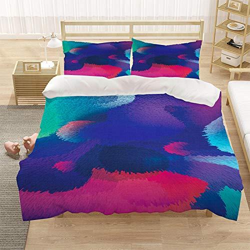 Bedclothes-Blanket Cubierta de la Cubierta de la Microfibra de Color 3D con la Cubierta de la Cremallera y el Cierre de la Cremallera (1 Cubierta del edredón + 2 Casas de Almohadas)-10_180 * 210cm