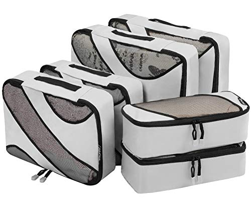 Bagail 6 Set Packing Cubes,3 Various Sizes Travel Luggage Packing Organizers(Grey)