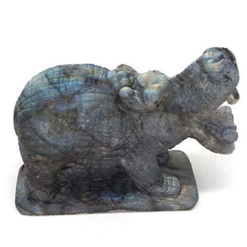 LQCN Nilpferd Figur Naturstein Labradorit Crystal Healing Decor, 1St