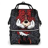 Minnie Mouse Wickelrucksack für Mütter, Multifunktions-Wickeltasche, Rucksack für Mama/Papa, mit Kinderwagengurten und isolierten Taschen, modisch und langlebig
