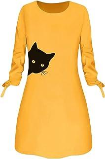 Women O-neck Casual Mini Dress, Ladies Cat Printed Long Sleeve Home Work Dress