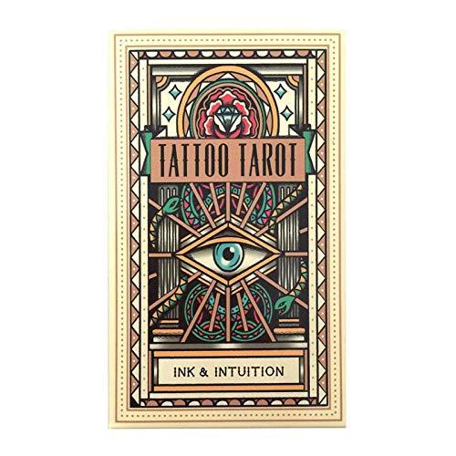 WANGP BoîTe De Tarot, 78 PièCes pour Les Cartes De Tarot De Tatouage De FêTe Jeu De SociéTé Maison Pont Portable Cadeau MystéRieux