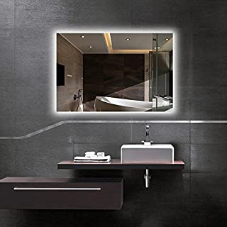 Hans&Alice LED Wall Mounted Backlit Mirror, Bathroom Vanity Makeup Mirror–Dimmable, Anti Fog, Touch Screen and 90+ CRI (36''x28'')