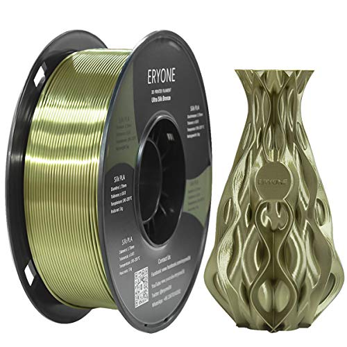 Filamento PLA Bronce Ultra Seda 1.75mm, Impresión 3D ERYONE Super PLA Filamento para Impresora 3D y Bolígrafo 3D, 1kg 1 Carrete