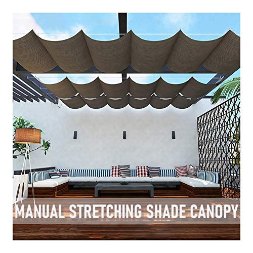 LSXIAO Terrace Shade Retractable Canopy Installation Kit Sliding On Wire Rope Shade Rate 96% Hanger Pre-assembled for Pergola Deck Restaurant Coffee Shop (Color : Orange, Size : 1x3m)