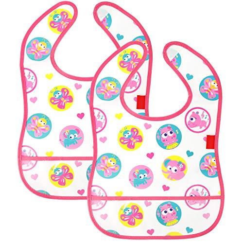 COM-FOUR® 2x slabbetjes voor baby's in roze, waterdicht en wasbaar met klittenband en transparant zakje aan de onderkant (2 stuks - roze)