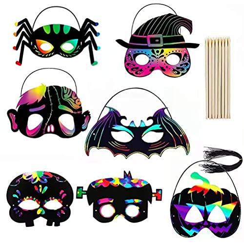 Máscaras de scratchboard para niños, juego de scratch board para niños Scratch paper children, 28 piezas de máscaras de scratch paper para dibujar y manualidades con lápiz de bambú, cuerda elástica