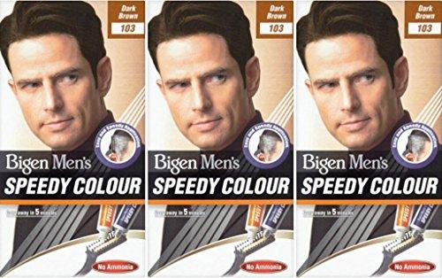 Bigen Speedy Herren-Haarfarbe, Ammoniakfrei, Dunkelbraun, 3 Stück