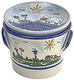 vivApollo Knoblauchtopf mit Knoblauchreibe als Deckel Vorratsdose Original westerwälder Kannenbäckerland salzglasierte Steinzeug Keramik (OneSize, Idas Garten)