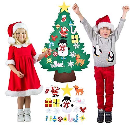 knowledgi Árbol de Navidad de fieltro, 3,7 m, para manualidades, con 20 adornos para niños, decoración de pared