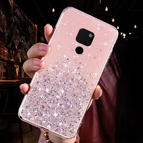 Handyhülle Kompatibel mit Huawei Mate 20 Glitzer Hülle Silikon Tpu Glänzend Bling Stern Muster Shiny Ultra dünn Weiche TPU Schutzhülle Stoßfest Bumper Case Handytasche,Rosa