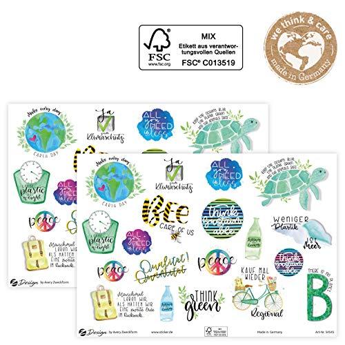 AVERY Zweckform Lettering Sticker 38 Aufkleber Umwelt Statements und Sprüche (Sticker auf A5 Bogen, Etiketten zur Nachhaltigkeit, Klebeetiketten aus FSC Papier) 54545 4004182545454