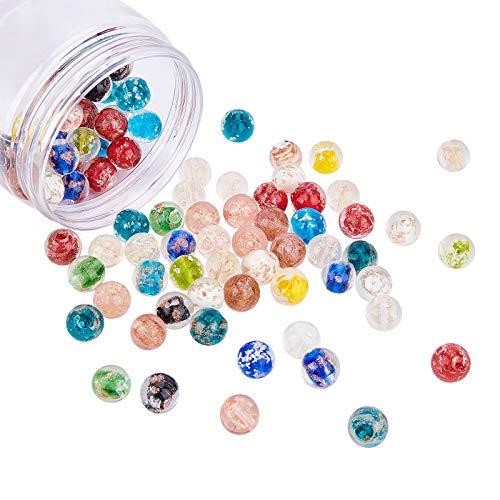 NBEADS Cerca de 100 cuentas luminosas de 12 mm, hechas a mano, varios colores, cuentas sueltas para manualidades, accesorios de joyería