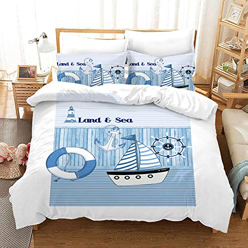 Duvet Cover Set -Blue Sea And Land Modern Wind - 3 Pieces Printed Bedding Quilt Cover with Zipper Closure Students for Bedding Decor, Ultra Soft Microfiber Comes with 2 Pillowcases 78.7 X 78.7 inch