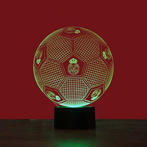 Wallfia Fútbol real madrid 3D Ilusión óptica Lámpara LED Luz de noche,7 Colores Cambio de Botón Táctil y Cable USB,Mejor regalo de navidad[Clase de eficiencia energética A]