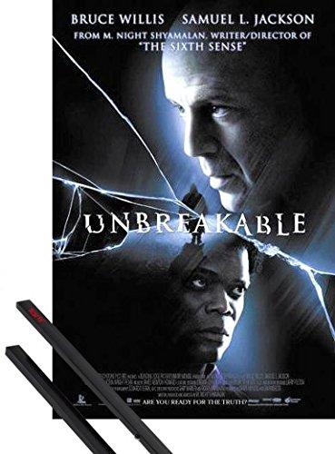 1art1 El Protegido Póster (98x68 cm) Bruce Willis, Samuel L. Jackson Y 1 Lote De 2 Varillas Negras