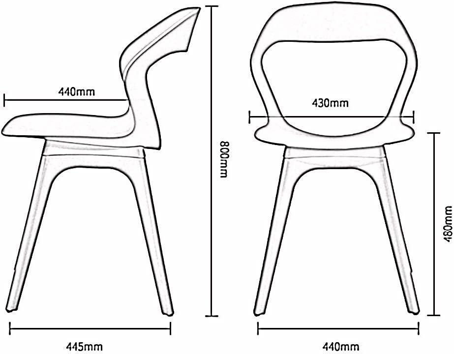 LJFYXZ Chaises de Cuisine Conception du dossier Fauteuil de salon Matériau PP écologique Pour le salon de bureau Chaise design Multicolore en option (Color : White) Gray