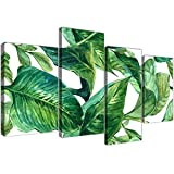 Grande verde Palm Tropical lienzo pared Art print de hojas de plátano–Split 4parte–4324Wallfillers