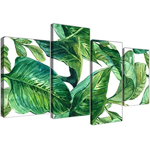 Wallfillers Lienzo decorativo para pared, diseño de palmeras tropicales y hojas de plátano, 4 partes, 4324