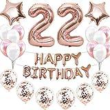 22 décorations d'anniversaire pour fille - Or rose - Décoration d'anniversaire - 22 ans - Décoration d'anniversaire - Guirlande de confettis - Ballons en forme de cœur et d'étoile