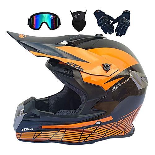 Casco Motocross Niño, Cascos Integrales set,(Gafas/Máscara/Guantes), DTC & ECE Certificación, Casco Downhill para BMX Bicicleta Dirt Bike MTB ATV Offroad DH, Brillante Negro Rojo,4 Piezas