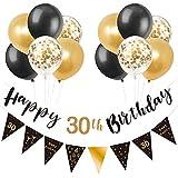Schwarz & Gold 30. Geburtstag Dekoration, Happy 30. Geburtstag Banner Luftballons, Dreieck Flagge Banner für 30 Jahre alte Geburtstagsfeier Dekorationen Lieferungen
