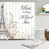 2pcs / Set patrón de la Torre EiffelLandscape Architecture Shower Curtain Set Waterproof +Non-Slip Mat Rug Home Decor-180cm W X 210cm H