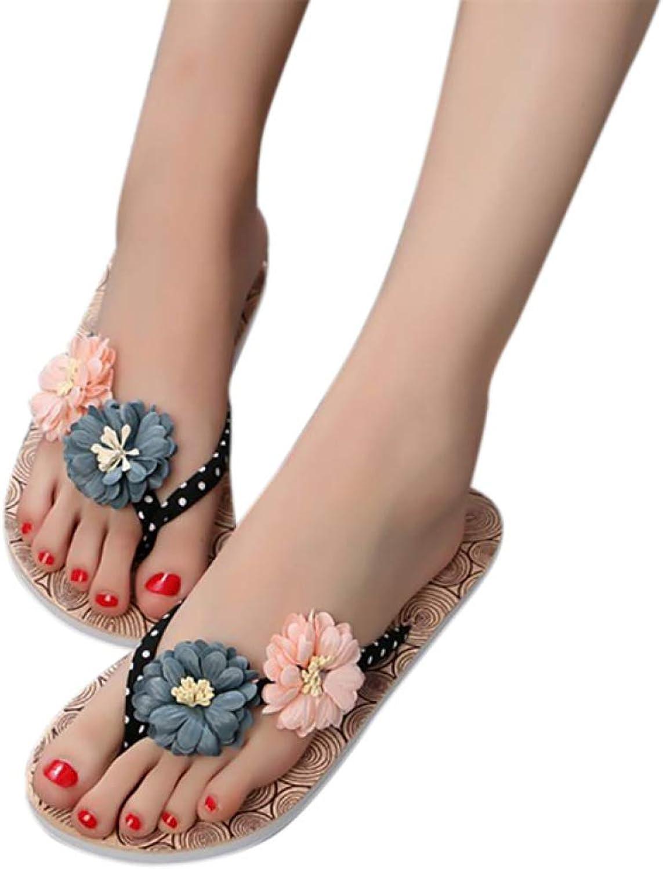 Btrada Women Flip Flops Flat Slippers Summer Non-Slip Flowers Beach shoes Print Ladies Casual Footwear