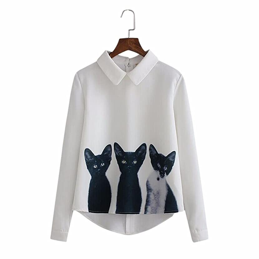 IEason Women Shirt 2017 Hot Sale! Women Loose Chiffon Three Cats Tops Long Sleeve Casual Blouse Shirt