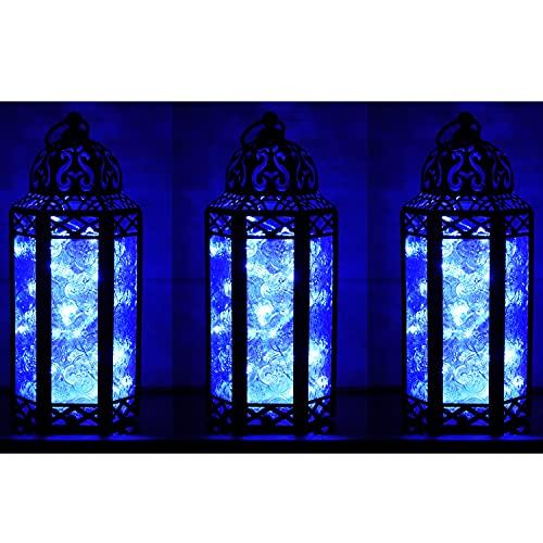 Vela Lanterns Decorative Candle Lantern Holders, LED Fairy Lights Included, Blue, Medium, Set of 3