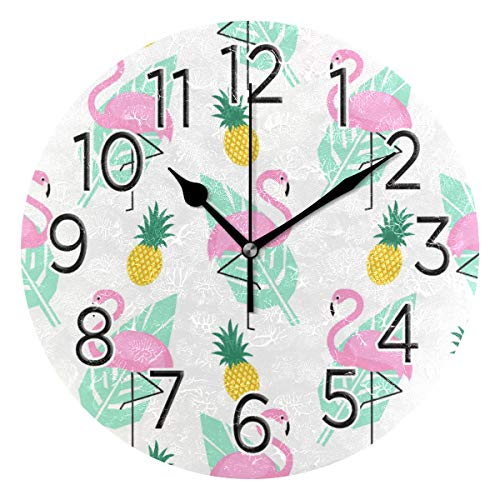 HousingMart Silent Round Wall Clock Flamingo Pineapple Pattern Clock Battery Operated Wall Clock 9.85 Inch Non Ticking for Home Office
