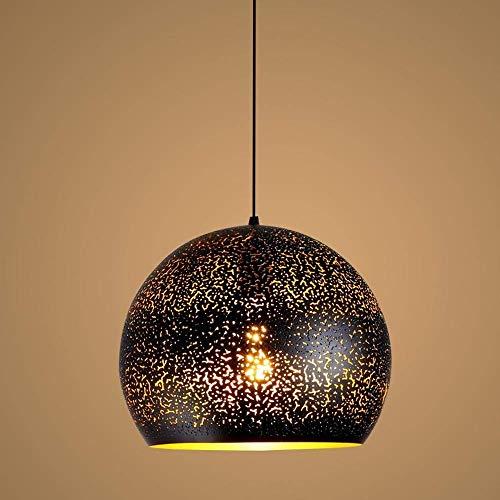 YXDEW Retro lámpara araña Simple Hierro Forjado Hollow Adecuado para Usar en el Restaurante Principal Barra de Viento Industrial Individual Luz Colgante Negra Restaurante