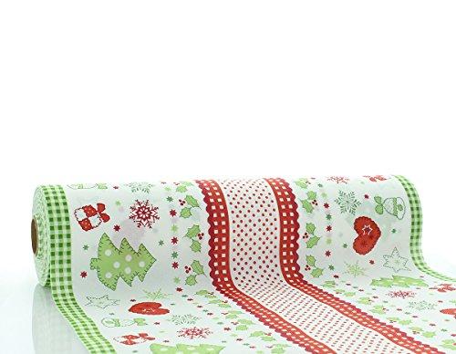 Sovie HORECA Tischläufer Christmas | Linclass® Airlaid 40cm x 24m | stoffähnlich saugstark | Advent Weihnachtszeit Weihnachten | 1 Stück