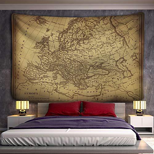 PPOU Tela de Mapa del Mundo Retro brújula de Color geométrico Tapiz Colgante de Pared Pintura al óleo Retro Mapa del Tesoro Pirata A10 73x95cm