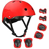 XRZT Skateboard Cycling Helmet - CPSC Certified Kids Protective Gear, Knee Pads and Elbow Pads 6 in 1 Set, Multi-Sport Scooter Roller Skate Inline Skating Rollerblading for Kids, Youth & Adults,Red