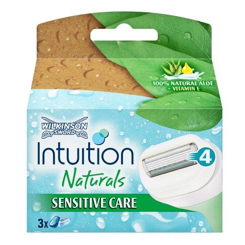 4 x 3 Wilkinson Sword Intuition Natural Rasierklingen Sensitive Care/ Kein Rasiergel,-schaum oder Duschgel erforderlich