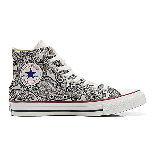 Unbekannt Sneaker Original Hi Customized personalisiert Schuhe Unisex (gedruckte Schuhe) Black & White Paisley Size 33 EU