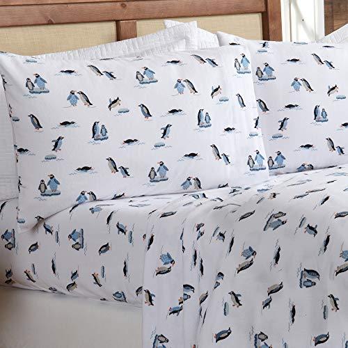 Conjunto de lençóis de flanela 100% algodão turco com impressão extra macia da Great Bay Home. Lençóis de inverno quentes, aconchegantes e luxuosos. Coleção Lakeview (Rei, Pinguins saltando)