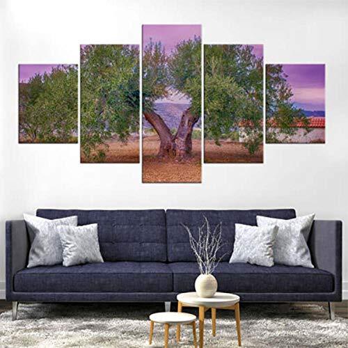 Jgophu Wandkunst Leinwand Gemälde Modulare 5 Stücke Olivenbaum Landschaft Bild HD Print Poster Rahmen Für Wohnzimmer Dekoration 40x60X2 40x80X2 40x100 cm