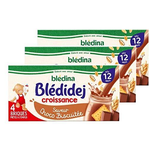 Blédina Blédidej Croissance, Céréales bébé Lactées Chocolat, Dès 12 Mois, 250ml (3x4 briques), Lot de 3