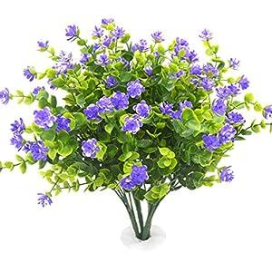 Beebel Fake Shrubs Artificial Greenery Plants for Home Kitchen Dining Room Hanging Planter Garden,4 Bundles