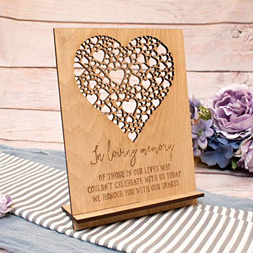 In Loving Memory Sign Personalised Wedding Remembrance Wooden with Hearts Plaque